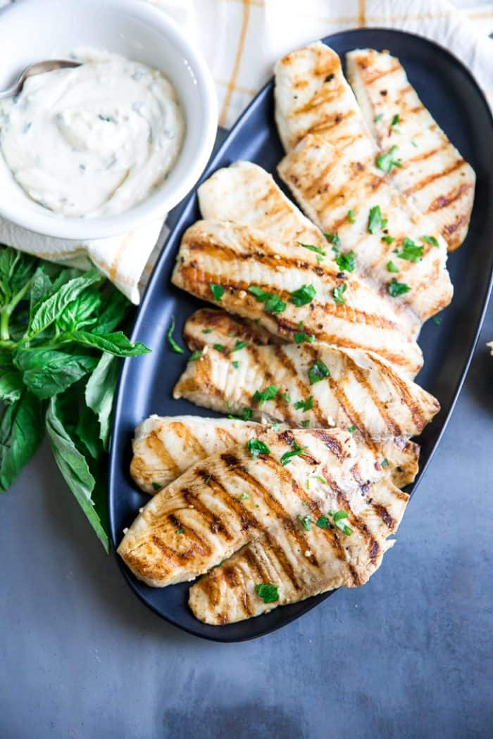 Grilled tilapia with basil aioli on the side