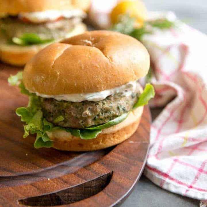 Herb Lemon Aioli with turkey burger up close