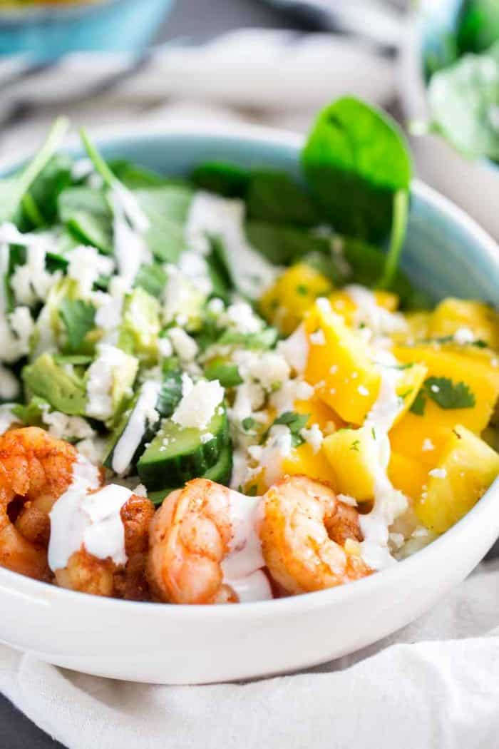 Island shrimp bowl with grocery delivery