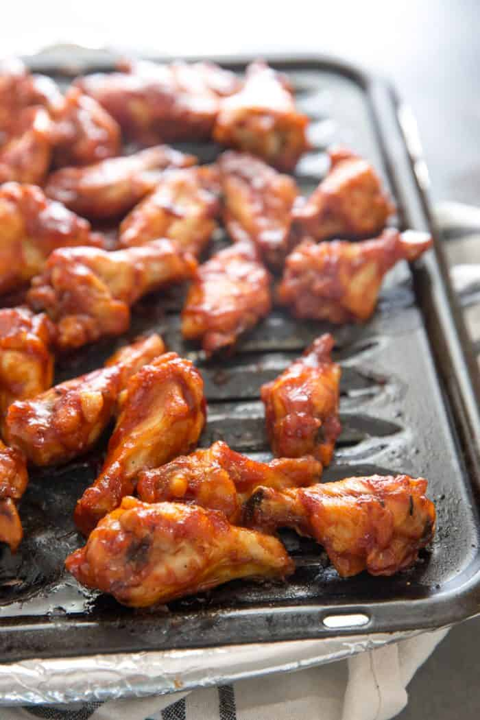 BBQ wings on grill pan