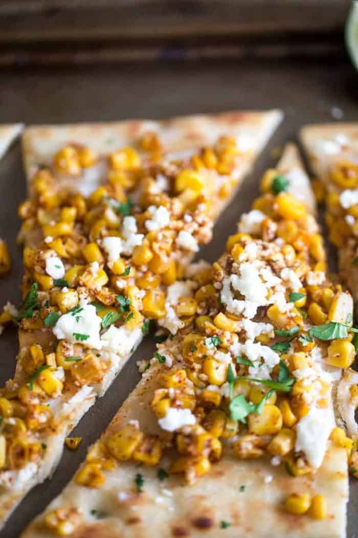 Flatbread pizza sliced Mexican street corn