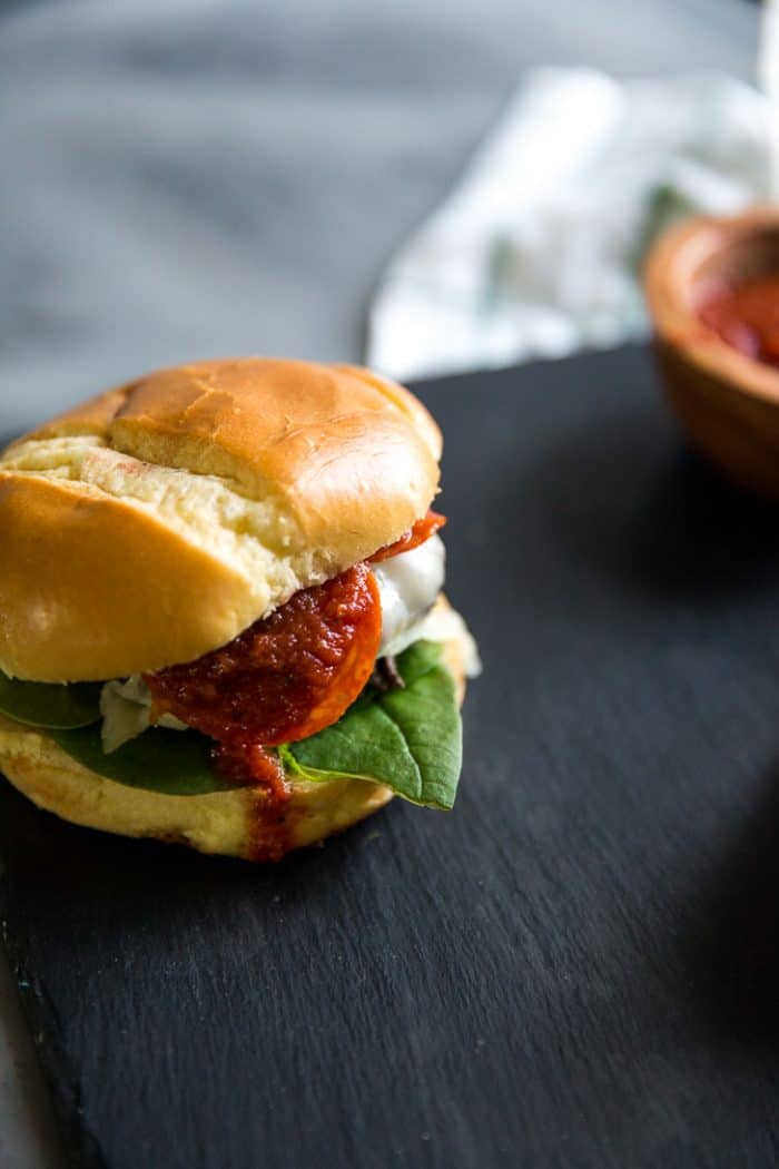 pizza burger with pepperoni