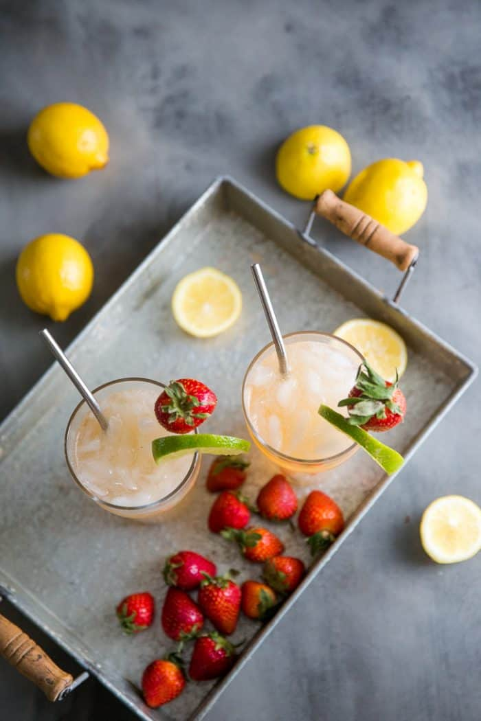 Bourbon cocktail on a tray