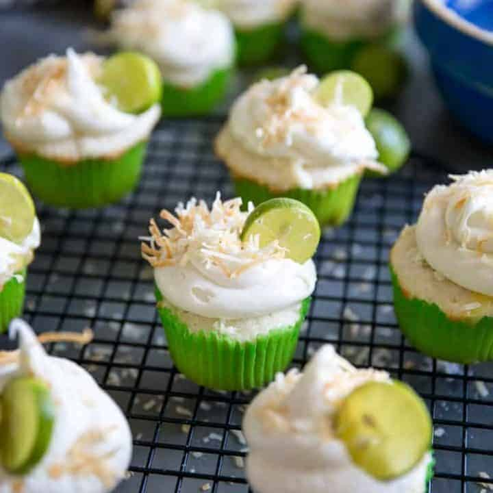 Key Lime cupcakes on a baking rack