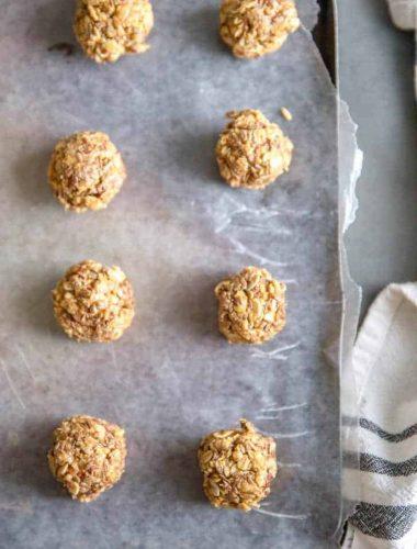 Protein balls on a baking sheet