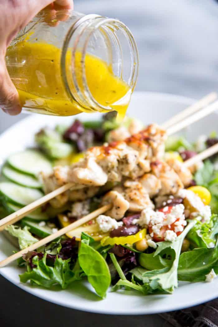 Greek dressing with salad