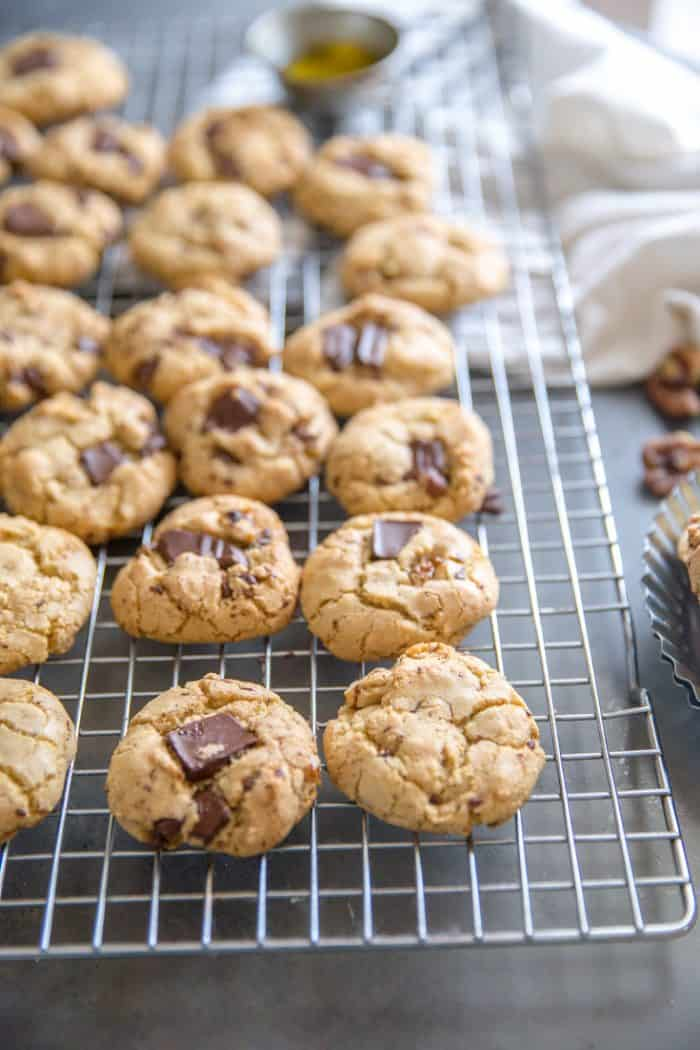 chocolate chip walnut cookies with olive oil