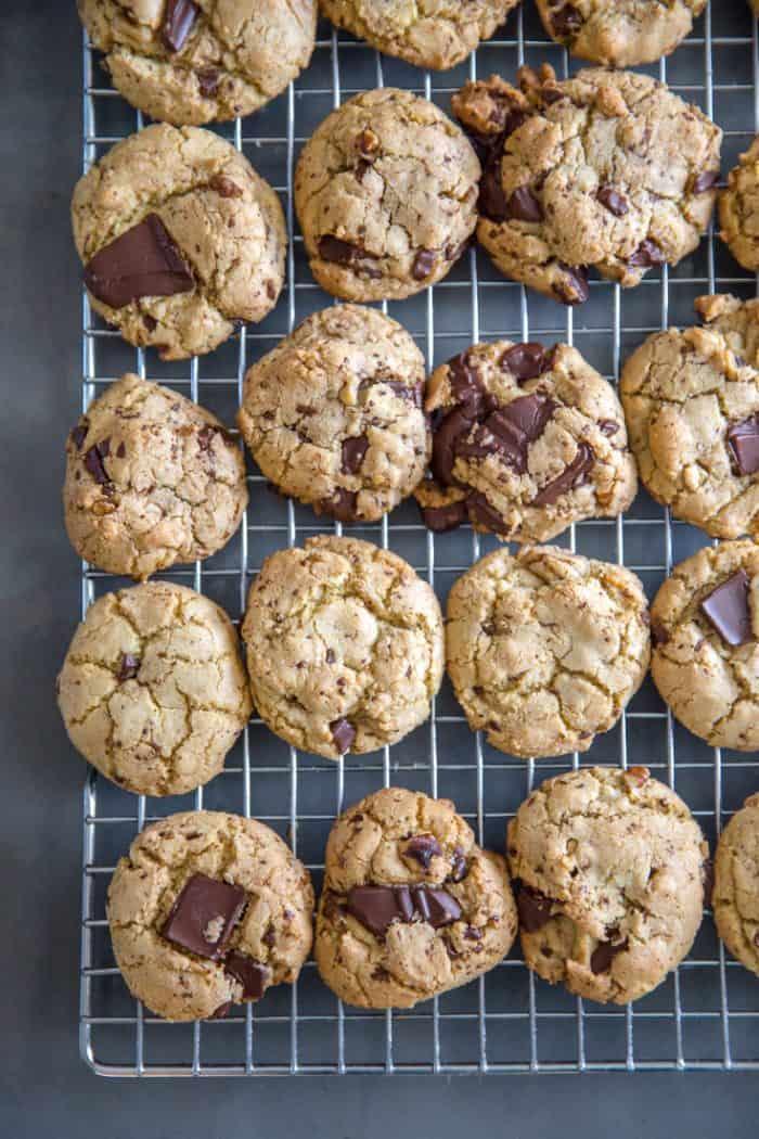 chocolate chip walnut cookies on a rack