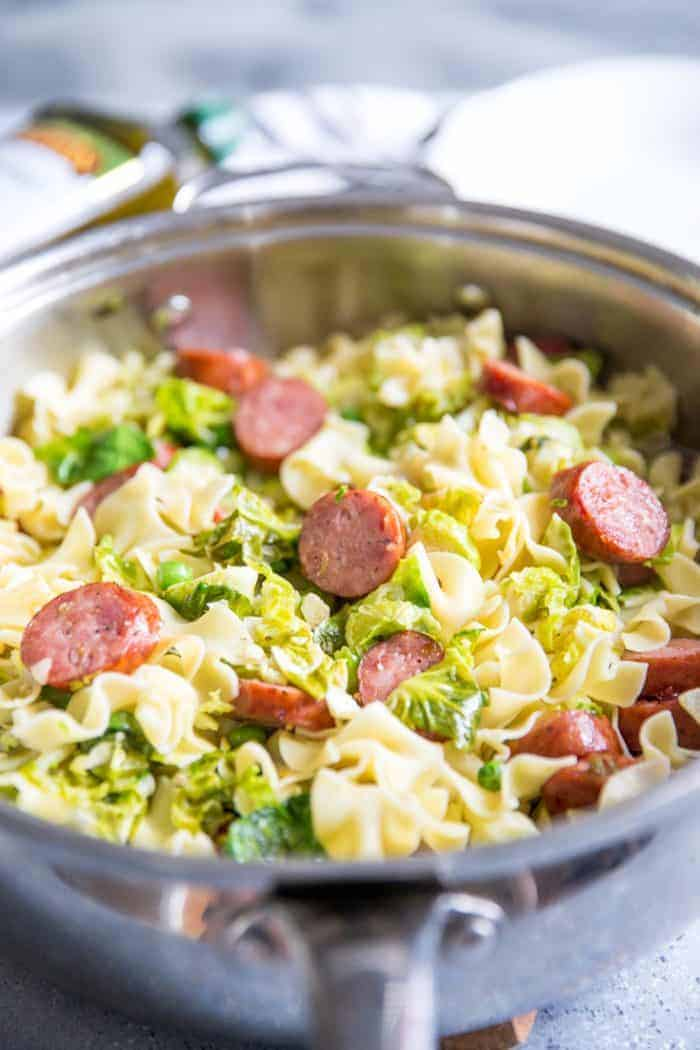 cabbage and noodles with sausage