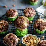 Banana nut muffins one on a baking cup