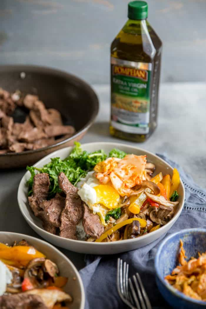 bibimbap with olive oil and beef