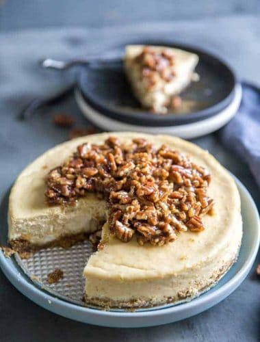 pecan pie cheesecake one slice out