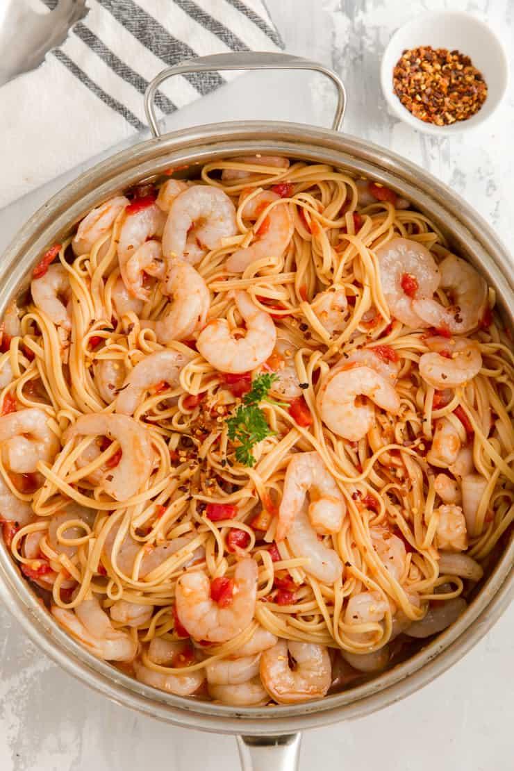 shrimp diablo in a skillet