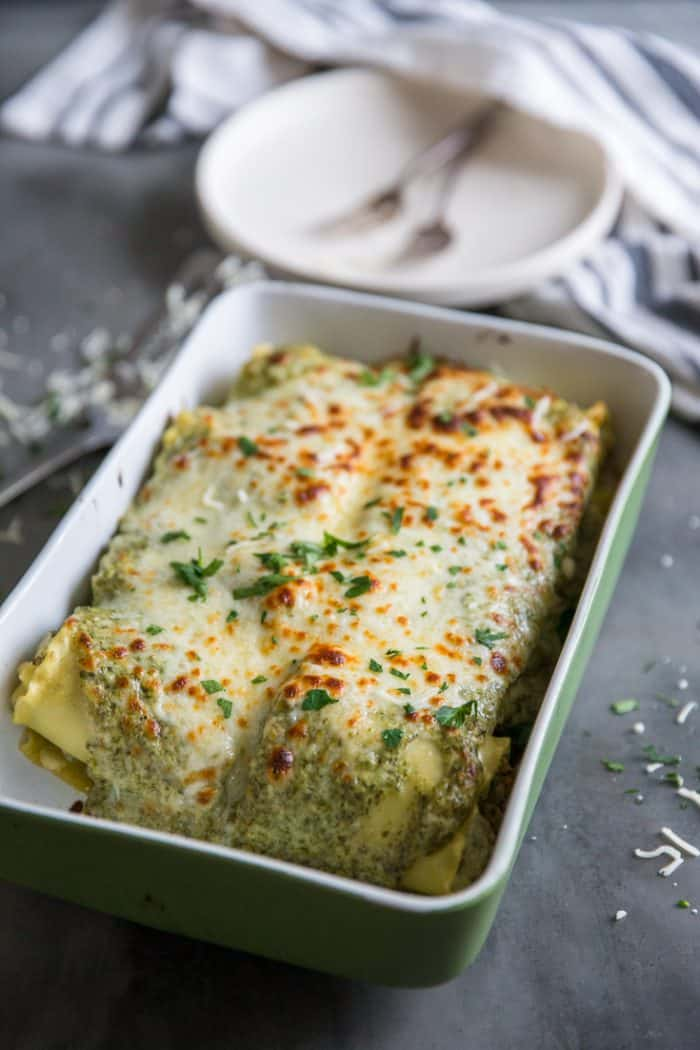 Pan of lasagna rolls