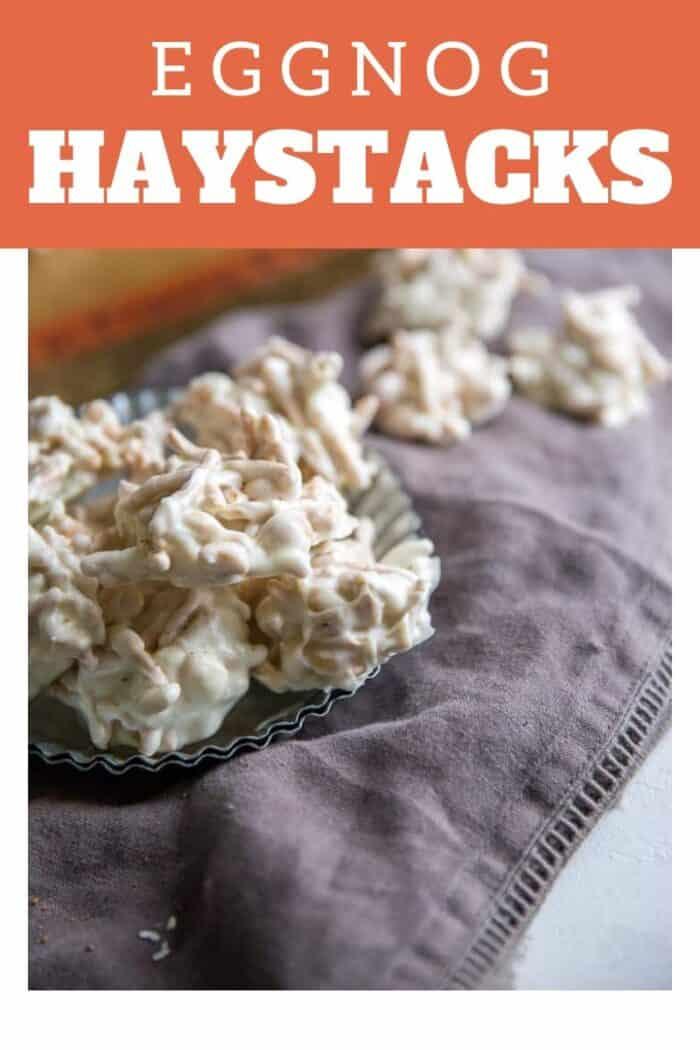 Eggnog haystacks on a silver plate