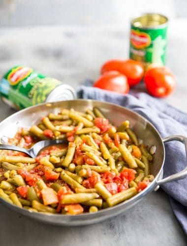 Greek Grean Beans tomatoes in back