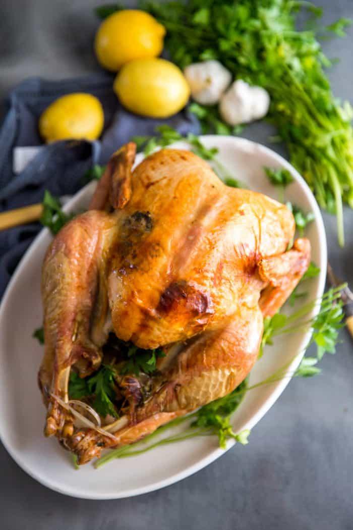 Greek Roasted turkey with lemons,onions, parsley