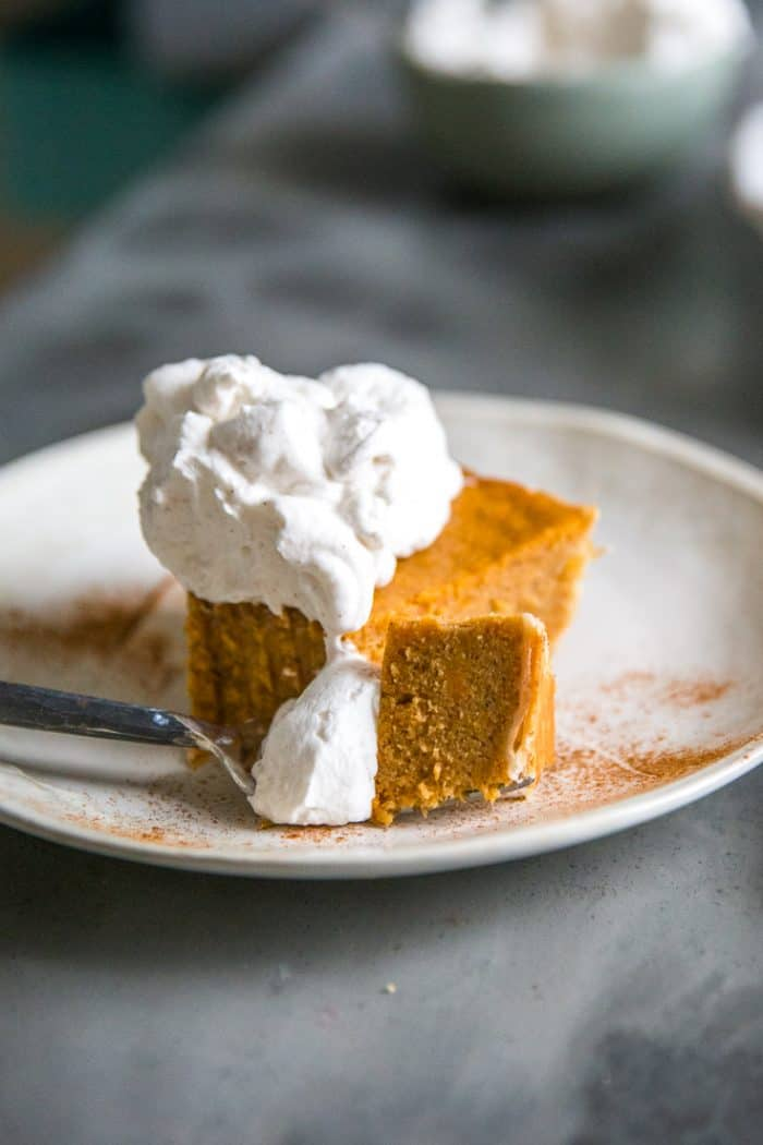 Homemade sweet potato pie with a bite out