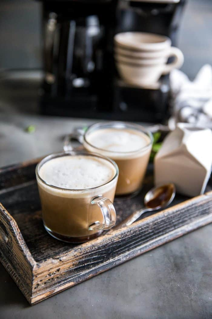 chocolate coffee with cream on the side