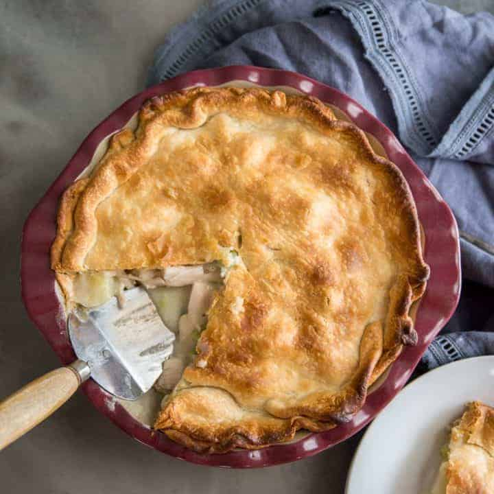 Turkey pot pie whole slice out