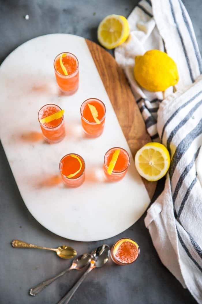 Jello shots on a marble tray