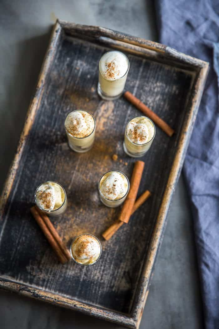 pudding shots on a tray