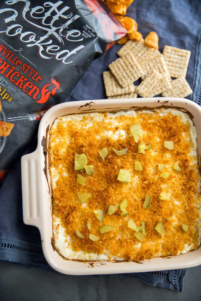 Nashville hot chicken dip with chips and crackers