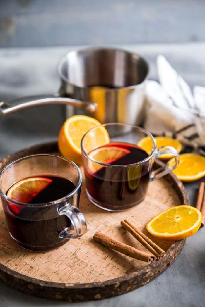 Warm red wine sangria two mugs