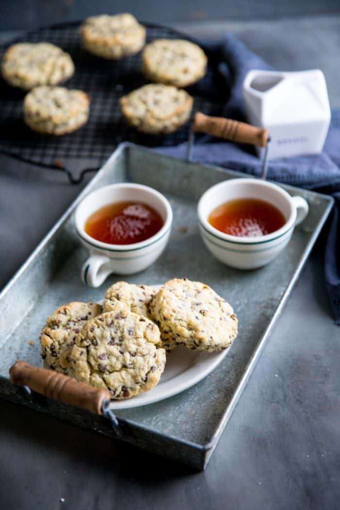 chocolate chip scones on a tray