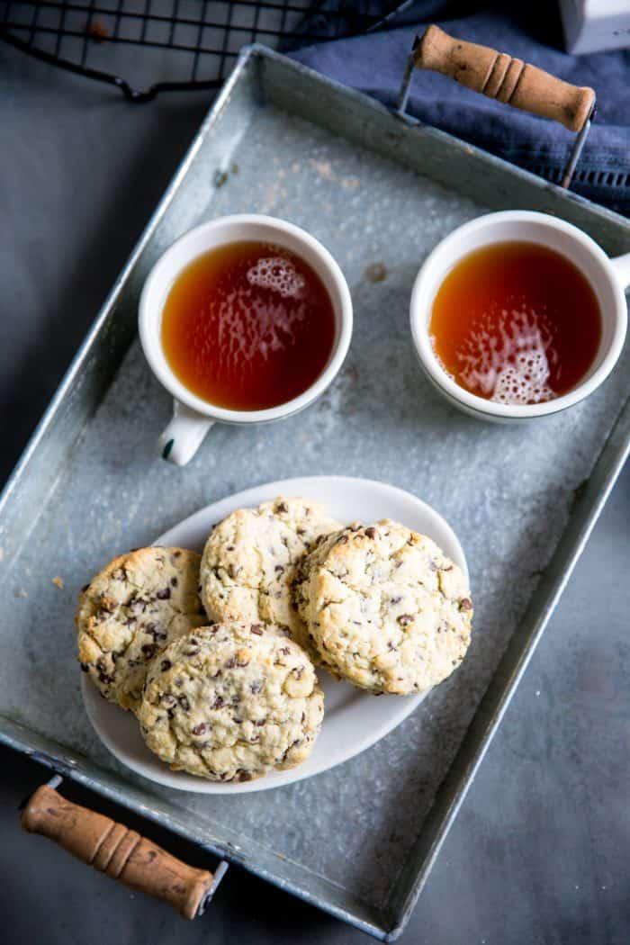 chocolate chip scones with tea