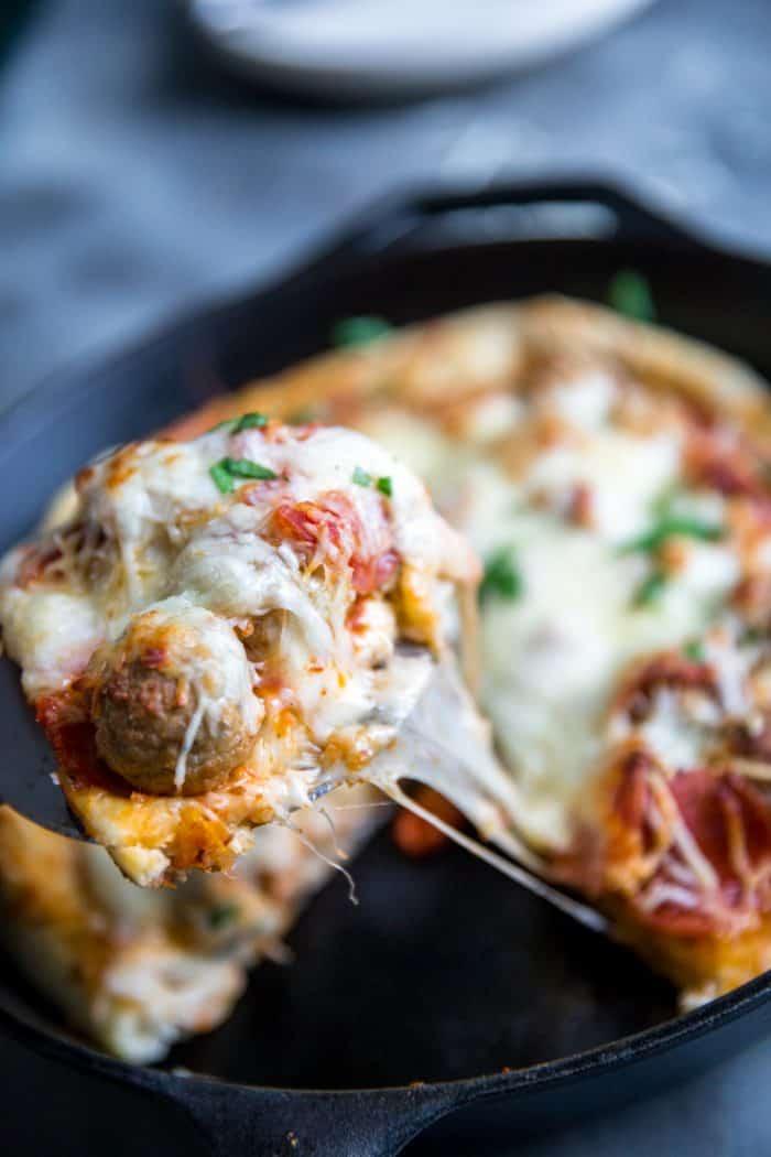 meatball pizza slice