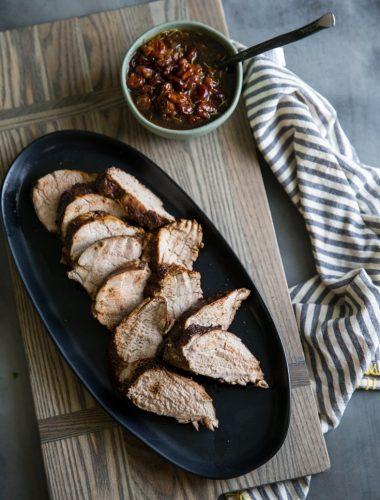 pork tenderloin roast on a platter