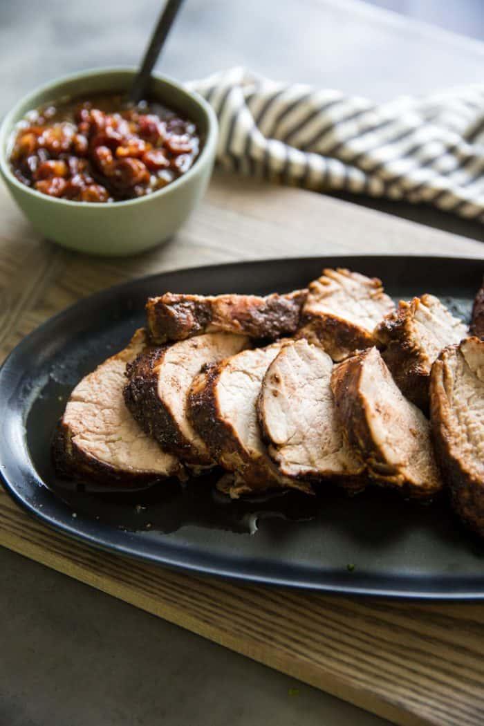 sliced pork tenderloin roast