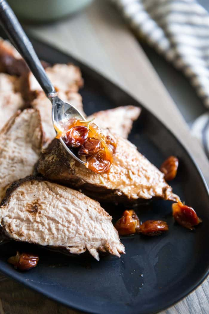 Pork tenderloin roast with cherry sauce