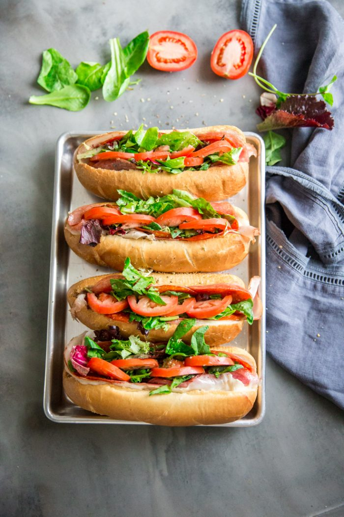 Spicy Italian subs on a tray