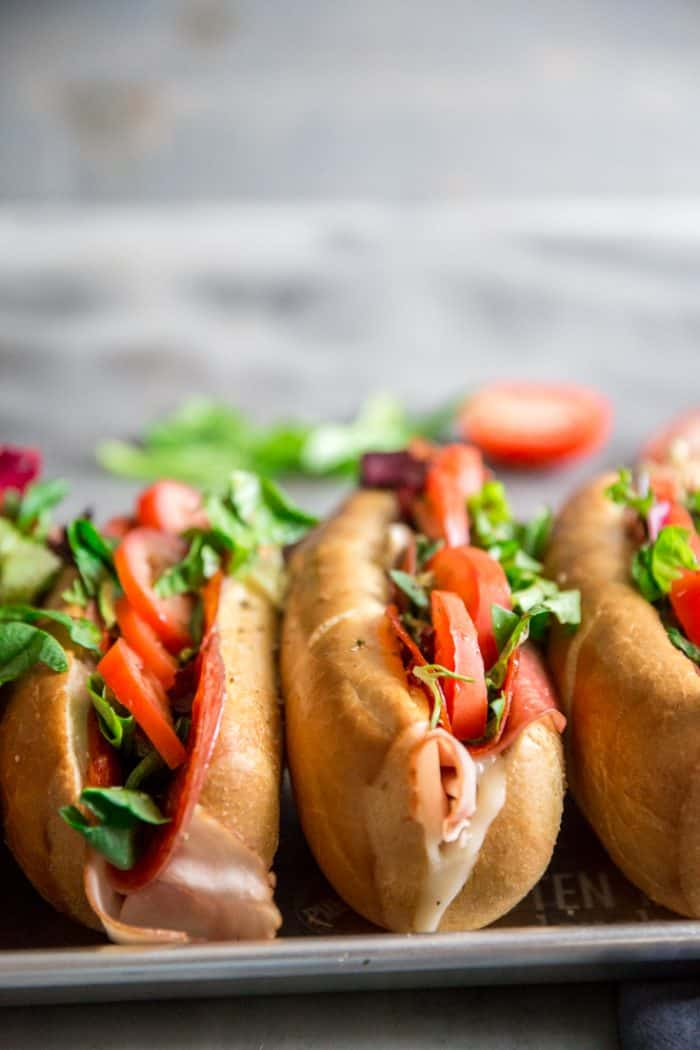 Spicy Italian Subs with tomatoes
