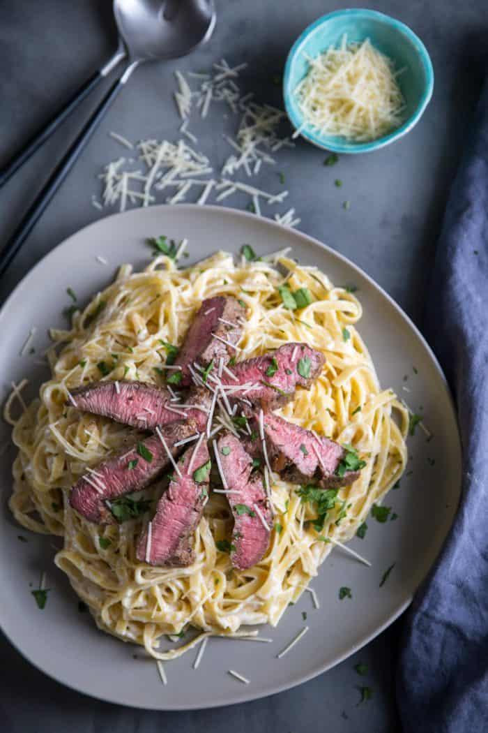 steak alfredo gray plate