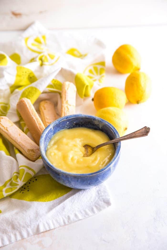 Lemon curd blue bowl