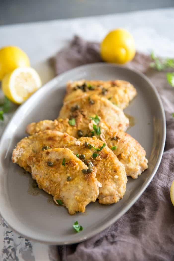 Pork cutlets with lemon caper sauce