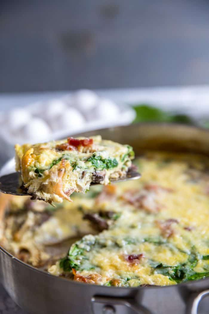 Spinach frittata being served