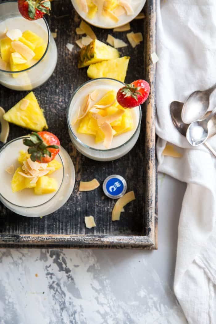 Panna Cotta in a tray with spoons on the side