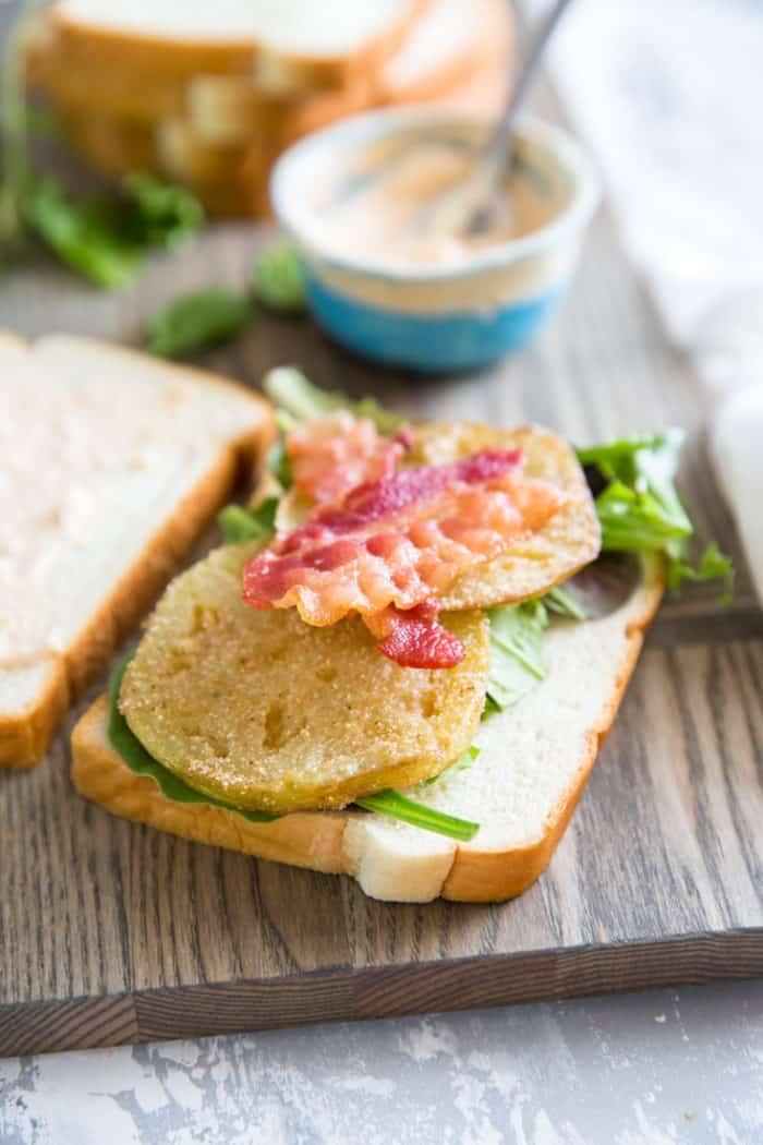 open faced Fried Green Tomato BLT Sandwich