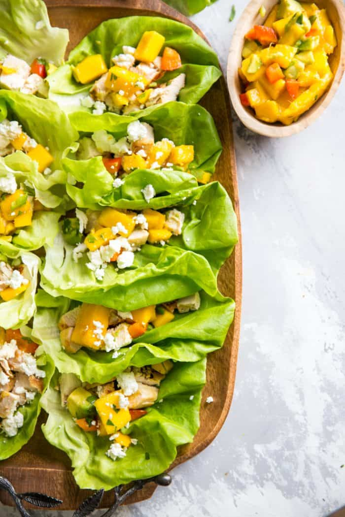 grilled chicken in lettuce wraps
