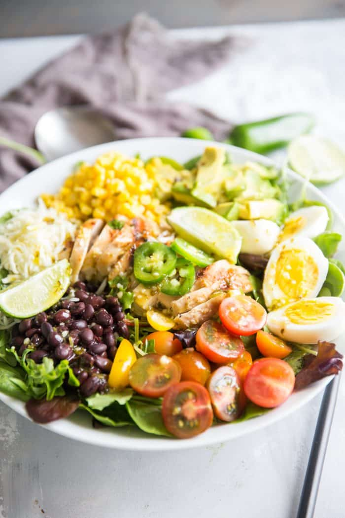 Cobb salad with beans and corn