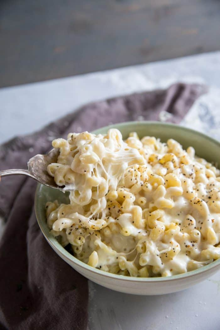 homemade mac and cheese recipe with spoon