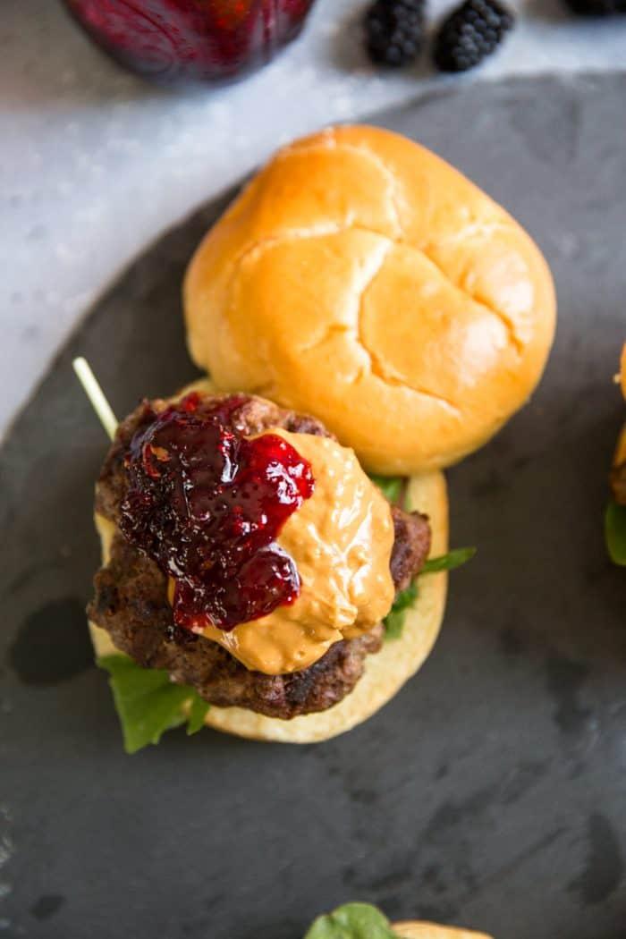 burger recipe on a black background