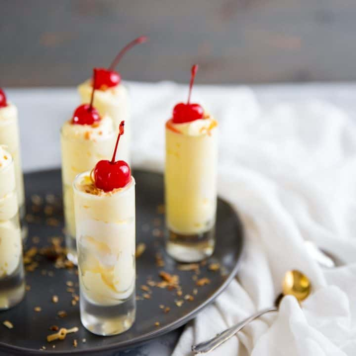 Pina Colada pudding shots with coconut