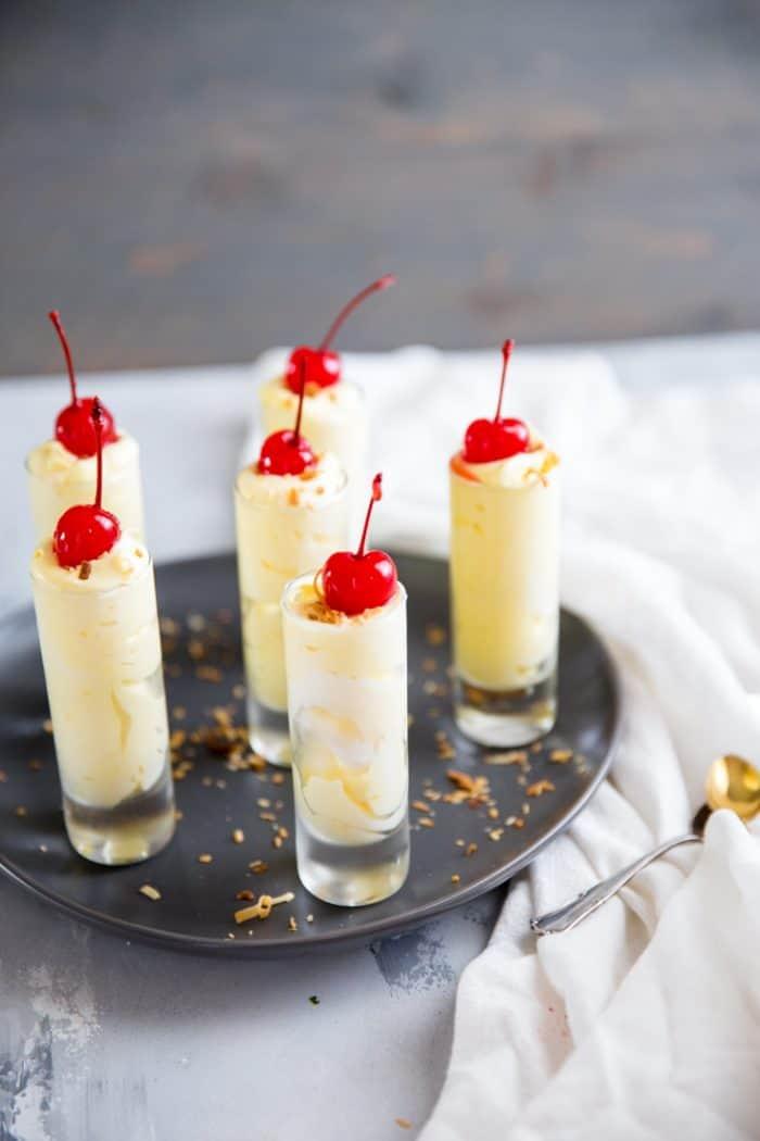 Pina Colada pudding shots in glasses