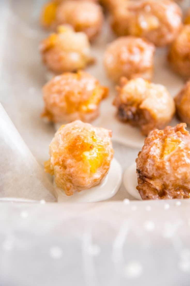 peach fritter with peach chunk