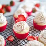 Strawberry cupcake one topped with a berry slice